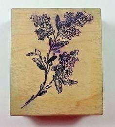 Magenta LILAC BRANCH 09030K Wood Mount Rubber Stamp Botanical Flower  #Magenta #Background
