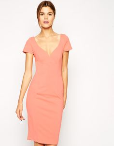 ASOS Wiggle Dress in Scuba with Low V - pretty color