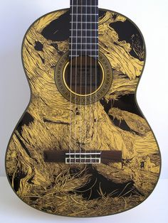 We've all seen our fair share of haphazard guitar art, usually consisting of quick doodles or ill-placed stickers, which is why at Flavorwire we have fallen in love with Patrick Fisher's intricate guitar drawings. Fisher, whose work we first spotted… Guitar Drawing, Guitar Painting, Guitar Art, Music Guitar, Cool Guitar, Drawing Art, Ukulele Art, Tiger Drawing, Guitar Tattoo