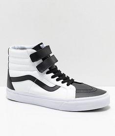 1235d095941e Vans Sk8-Hi Tumble Reissue V Black  amp  White Skate Shoes Elastic Laces