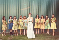 Handmade Washington Farm Wedding: Lindsay had all the girls dresses made with fabric they picked out – just love them!