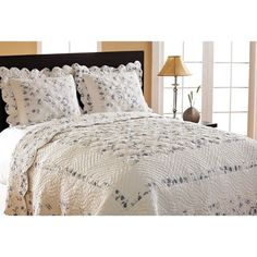 Primrose Reversible 3 Piece Quilt Set Detailed Blue Floral Motif On White New #CottageHome #FrenchCountryShabbyChicTraditional