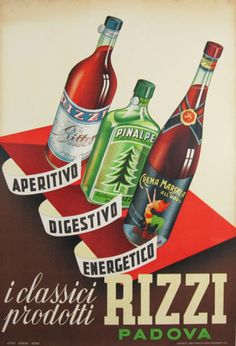 Rizzi Padova original advertising lithography antique poster from 1952 Italy. Visit our wine and spirits section for more authentic advertisement lithography vintage posters by famous artists.