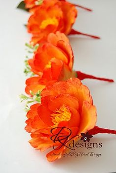 DK Designs: Orange and Red Peonies and Orange Poppies with Purple Violets