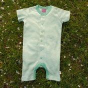 Green Stripy Shortie Romper in Organic Cotton -   Cambridge Baby d8062b32082e
