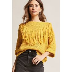 Forever21 Tassel Honeycomb Knit Sweater ($38) ❤ liked on Polyvore featuring tops, sweaters, mustard, knit sweater, three quarter length sleeve tops, mustard knit sweater, knit top and tassel sweater