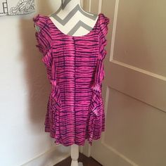 Victoria secret swimsuit coverup  Victoria secret swimsuit coverup Pink and purple Size small Only worn once Great ruffle detail Please ask for additional pictures, measurements, or ask questions before purchase No trades or other apps. Ships next business day, unless otherwise noted in my closet Five star rating Bundle for discount Victoria's Secret Swim Coverups