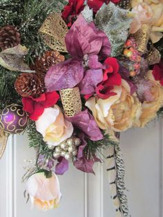 OOAK XL Rose Pheasant Fireplace Elegance Christmas Home Decor Rustic Wreath