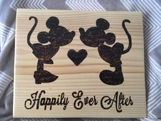 Disney wedding, Happily ever after, Mickey and Minnie silhouette, WOOD BURNED sign, Disney wedding decor, Wooden wedding sign, wedding