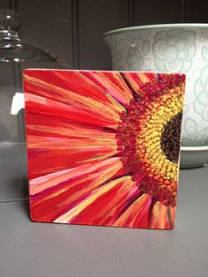 Easy flower painting idea. Lots of different colors could be used. Teal would be awesome.