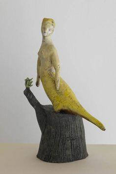'Birdwoman' by NY-based American artist Bonnie Marie Smith. Ceramic sculpture. via the artist's site
