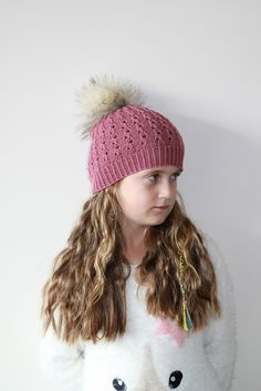 Lucinda is a light-weight Lace hat designed for Baby, Toddler Child or adult. The lace pattern is easy to memorize and the hat will fit for a long time since the rib pattern makes it very stretchy Knitting Designs, Knitting Patterns, Fur Pom Pom, Pattern Making, Knitted Hats, My Design, How To Memorize Things, Winter Hats, Lace