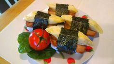 Vegetarian (vegan compatible) Hawaiian style SPAM musubi (using Vege Lucky Ham and dashi-free tamago)