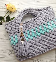 """Купить Вязаная сумка """" Серый и мятный"""" - серый, орнамент, вязаная сумка"""