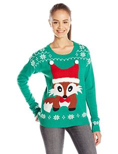 I really like this teal green juniors Women's Ugly Christmas Sweater.     This would be great for the teen or pre-teen girl in your life.  They should be able to enjoy the fun of ugly sweater parties.      This was recently featured as one of the top Women's Ugly Christmas Sweater of 2016.     Blizzard Bay Junior's Christmas Fox 3D Sweater, Green, Medium