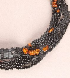 Black Freeform Peyote Stitch Necklace with Amber Chips