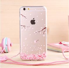 Newest fashion Japan sweet cherry blossom Phone Case soft TPU for Apple iphone 6 Case 4.7'' Transparent back cover with lanyard