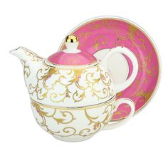 Amazon.com | Grace Teaware Porcelain 4-Piece Tea For One (Pink / Gold Scroll Gold Trimmed): Tea-For-One Sets