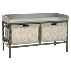 Storage bench with an elm wood seat and scrolling metal frame. Includes 2 woven storage baskets.   Product: Storage bench
