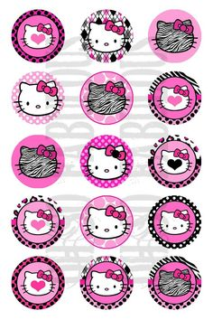 BUY 2, GET 1 FREE - Hello Kitty Pink and Black Images Digital Printable File 4x6 via Etsy