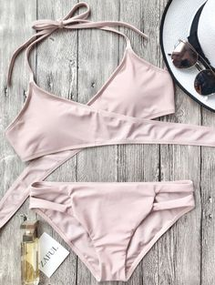 SHARE & Get it FREE | Cutout Halter Wrap Bikini Set - PinkFor Fashion Lovers only:80,000+ Items • New Arrivals Daily Join Zaful: Get YOUR $50 NOW!