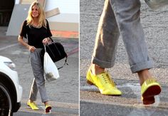 Who better than our celebrities to show you how to nail the yellow footwear trend! Let's check out some of these celebs and get inspired on how to wear yellow shoes! Yellow Shoes Outfit, Flats Outfit, Yellow Pumps, Yellow Sneakers, Melissa Mccarthy, Beyonce, Stuart Weitzman, Sneaker Outfits Women, Black Button Down Shirt