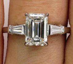 GIA Timeless 2.14ctw Estate Vintage Emerald Cut Diamond Platinum Engagement Wedding Ring by TreasurlybyDima on Etsy https://www.etsy.com/listing/501151742/gia-timeless-214ctw-estate-vintage