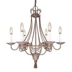 Volume International V2116-22 6 Light Kuta Candle Style Chandelier, Prairie Rock