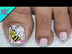 DISEÑO DE UÑAS ABEJITA PARA PIES - BEE NAIL ART - FRENCH NAIL ART - NLC - YouTube