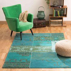 Tapis en laine bleue 140 x 200 cm ... -