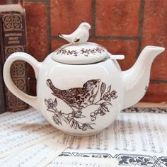 Vintage inspired ceramic teapot
