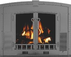 Heat exchanger and glass doors for wood fireplace kicks back heat into the room and seals Warm room air  from going up the flu Heat Champion I believe this is custom-made so pretty expensive ... probably