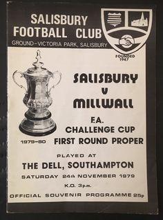 British Football, Millwall, Challenge Cup, Football Program, First Round, Fa Cup, Salisbury, Southampton, November