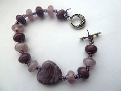 purple heart lampwork glass bracelet £22.00