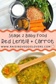 Baby Carrot Recipes, Baby Puree Recipes, Homemade Baby Foods, Pureed Food Recipes, Carrot Baby Food, Indian Baby Food Recipes, Baby Food Lentil Recipe, Red Lentil Recipes, Kitchenaid Food Processor