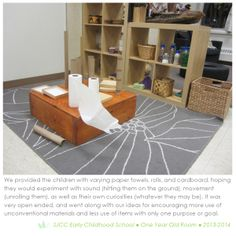 Provocation in a toddler room.  Constructivism.  Reggio Inspired Practice.