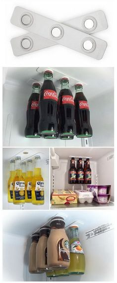 Magnetic Bottle Holders in the Fridge. Free up space and make your refrigerator the coolest one around by hanging your bottles inside with these magnetic bottle loft holders.