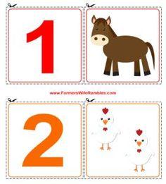 Set of Free Printable Counting Cutouts - Finally, one I like Farm Activities, Animal Activities, Toddler Activities, Free Printable Numbers, Free Printables, Preschool Math, Kindergarten Math, Farm Lessons, Farm Unit