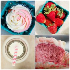 Strawberry Cupcakes with strawberry swirl frosting Gourmet Cupcake Recipes, Dessert Recipes, Desserts, Healthy Cupcakes, Strawberry Cupcakes, Cake Oven, Frosting Tips, Summer Snacks, Pastry Cake