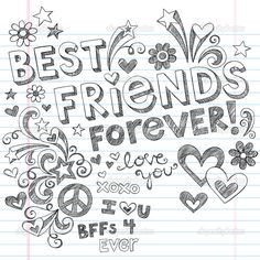 each bff color element   BEst Friends Forever BFF Back to School Sketchy Doodles Vector - Stock ...