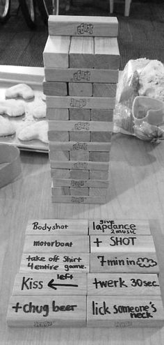 Drinking Jenga ~ Bachelorette Bucket List. #bachelorette #game #idea @Heather Hedrich @Laura Sperger @Angel-Marie Garcia @Stephanie Allen