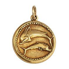 Van Cleef & Arpels Pisces Gold Zodiac Pendant | From a unique collection of vintage more jewelry at http://www.1stdibs.com/jewelry/more-jewelry-watches/more-jewelry/