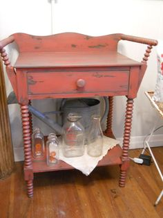 Vintage Hand Painted Distressed Farmhouse Chic Wash Stand Table Red