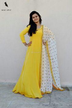 #macawz #designer #instafashion #anarkali ##embroidery #yellow #white #classy