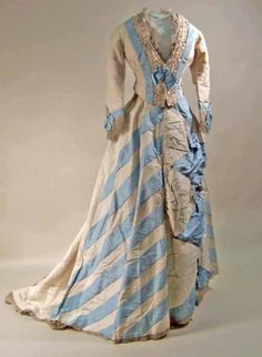 White corded silk dress trimmed with pale blue silk, 1874-1876   Manchester Art Gallery