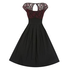 Verona Black Red Lace Swing Dress | Vintage Style Dresses - Lindy Bop