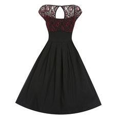 Verona Black Red Lace Swing Dress   Vintage Style Dresses - Lindy Bop