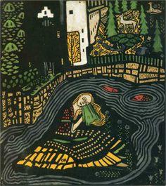 Sleeping Woman, 1917-Oskar Kokoschka - by style - Naïve Art (Primitivism)