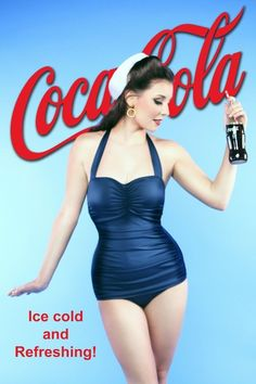the woman is wearing blue and white which reminds viewers of the Navy. She could be a Navy wife. Navy women like Coca-cola. The back ground being blue which symbolizes peace with an intense red coca-cola logo. Coca Cola Poster, Coca Cola Ad, Always Coca Cola, World Of Coca Cola, Coca Cola Bottles, Vintage Advertisements, Vintage Ads, Retro Advertising, Pin Ups Vintage