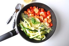 Zoodles with a Tomato-Prawn Sauce